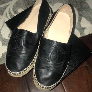 Chanel espadrilles shoes black Lambskin 41 11B 11